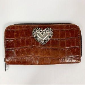Brighton Brown Croco Embossed Zipper Wallet